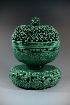 "CHINESE QING DYNASTY GREEN GLAZE CENSER, Incense burner Dimension: 7.75"" H"