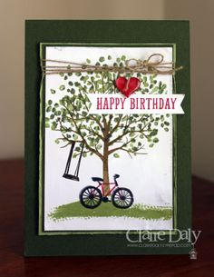 Stampin' Up! Sheltering Tree Birthday Card using the Thumping Technique and two step stamping by Claire Daly Stampin' Up! Demonstrator Melbourne Australia