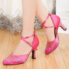 Gorgeous Women's shoes for dance Ladies balck bright pink modern dance shoes Tango Ballroom Salsa shoes women Dance ShoesXC-6393