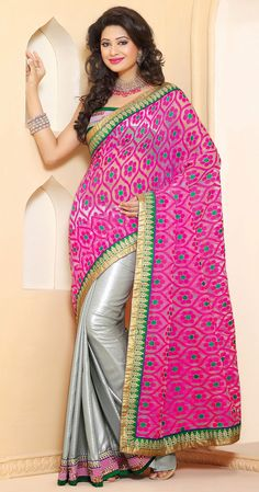 Contemporary Pink and Silver Crepe with Jacquard with Linen with Net with Satin with Silk Half And Half Saree - IG331359USD $ 72.76