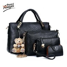 Angel Voices Famous Brand Women Bag Top-Handle Bags 2017 Fashion Women Messenger Bags Handbag Set PU Leather Composite Bag TNT60