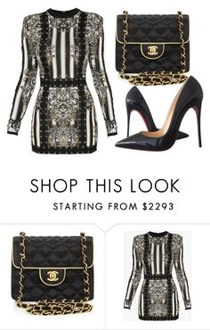 """""""Untitled #3289"""" by evalentina92 ❤ liked on Polyvore featuring Chanel, Balmain and Christian Louboutin"""