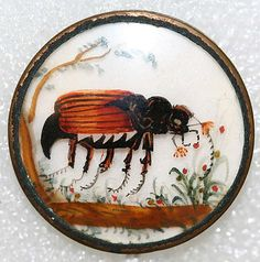 c1775 French painted glass button.