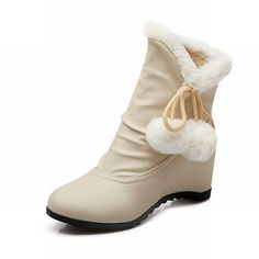 Show Shine Women's Fashion Pom Poms Hidden Wedge Heel Short Boots ** Check out this great product.