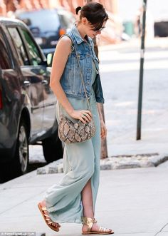 Anne Hathaway casual street style - jean jacket, mint green maxi, python handbag and gold sandals