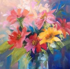 """Daily Paintworks - """"Zinnias"""" by Jean Fitzgerald"""
