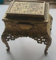 French Gilt Jewelry Casket, 19th Century