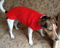 Red or Blue Small Dog Sweater, Knitted Dog Sweater, Dog Jumper, Christmas Dog Sweater, Sparkly Dog Sweater, Handknit Dog Sweater
