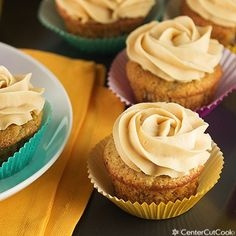 Banana cupcakes with peanut butter frosting from Center Cut Cook. Yum!