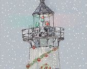 Christmas lighthouse- Fine art card set of five, landscape painting of beautiful New England Lightouse 5.5 by 4.25 inches