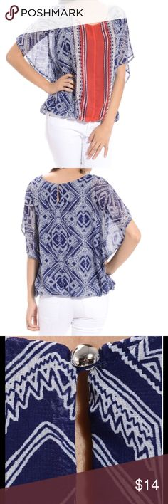 """Aztec Batwing Top This gorgeous flowy batwing top by Halo is 100% polyester for both the outer semi-sheer layer and the inside navy blue lining.  Has an elastic bottom and a pretty silver button at the top of the back, leaving a cute 2-3"""" slit below it.  Size Small, and would also fit a Medium.  Machine washable, tumble dry low. NWOT Halo Tops"""