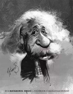 Albert Einstein por Sergio Matamoros - Caricaturas de Famosos