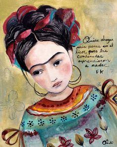 Frida inspirado arte imprimir con cita por claudiatremblay en Etsy