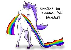 """This is a nice photograph of a real unicorn in the wild eating its first meal of the day, commonly known in North America as """"breakfast."""" It is eating an AirHeads Extreme Rainbow Belt, but the internet thinks it is an actual rainbow, which is an arch of colors formed in the sky in certain circumstances, caused by the refraction and dispersion of the sun's light by rain or other water droplets in the atmosphere."""