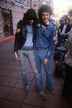 efe6b6f6aeac1 Joey Ramone and Alan Arkush during the rocknroll highschool fiming. Ramones,  Joey Ramone,