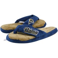 Louis Rams Ladies Navy Blue-Gold Plush Thong Slippers « Shoe Adds for your Closet Blue Gold, Navy Blue, St Louis Rams, La Rams, American Football, Womens Slippers, Nfl, Plush, Footwear