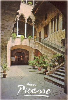 Museu Picasso, Barcelona, Catalonia, Spain - this museum holds the largest collection of Picasso's work. It is located on a narrow street along the outskirts of Barcelona's Barri Gotic (Gothic Quarter) in a quiet warren of medieval buildings.