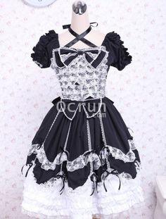 Short Sleeves Baumwolle Bow Schwarz And Weiß Gothic Lolita Kleid