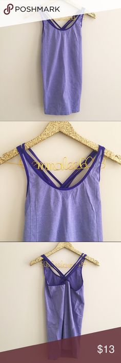 Fabletics Purple Strappy Tank Fabletics purple Strappy tank. Two-tone color, super thin and breathable material. Size tag removed by size M. Excellent condition. No modeling/trades. Fabletics Tops Tank Tops