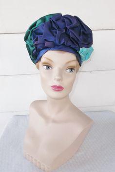 1960s Vintage Draped Turban Pillbox Hat by MyVintageHatShop