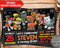 INSTANT DOWNLOAD-Paw Patrol Birthday Invitation. Paw Patrol Invitation. Paw Patrol Birthday Party. Paw Patrol Party. Paw Patrol Tags