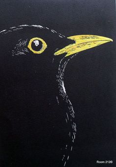 Blackbird by Mary Collett Blackbird, Limited Edition Original Lino Print – Mary Collett Black And White Art Drawing, Black Paper Drawing, Bird Drawings, Art Drawings Sketches, Lino Print Artists, Linocut Prints, Bird Art, Pet Birds, Blackbirds