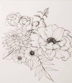 floral line art