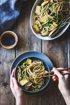 The Bojon Gourmet: Hot Sesame Rice Noodles with Asparagus, Shiitakes and Pea Shoots