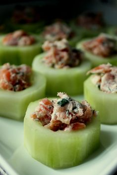 cucumber cups filled with smoked salmon, cream cheese and dill!