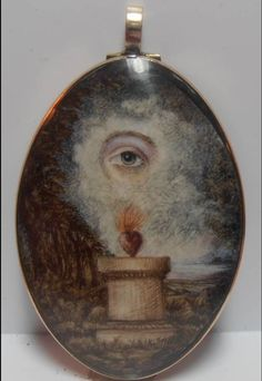 Watercolor on ivory in gold case: All-seeing eye watches over flaming heart of love- reverse has portrait of a young woman.
