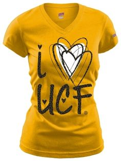 Support your favorite college team in this T-Shirt that features short sleeves, V-neck and an ''I love UCF'' screenprint on the front.