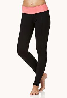Contrast Waist Workout Leggings | FOREVER 21 - 2000052124