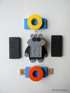 Robot Ornament  Gorilla Bot  G Bot  Upcycled by redhardwick