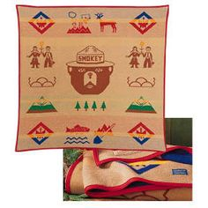 An original Pendelton Blanket!! SMOKEY BEAR 50TH ANNIVERSARY.  Brings back some of the best memories spent on Waneta Lake supporting my favorite boy scout. And the best news about it: proceeds go to the USDA Forest Service. www.theparksco.com: