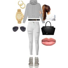 In my Yeezys by sophistaglam on Polyvore featuring polyvore, fashion, style, Helmut Lang, Frame Denim, adidas, MICHAEL Michael Kors, Michael Kors, Thalia Sodi, NLY Accessories and H&M