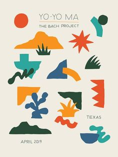 Limited edition silkscreen poster for Yo-Yo Ma's The Bach Project performance in San Antonio, Art Book Fair, Book Art, Motifs Organiques, Design Graphique, Abstract Shapes, Grafik Design, Graphic Design Inspiration, Art Inspo, Design Art