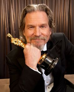 Jeff Bridges photographed with his Oscar for 'Crazy Heart', following his win at the 82nd Academy Awards, 7 March 2010.