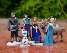 $12 6pc set Frozen Cake Toppers Figures Princess Elsa Anna Hans Kristoff Sven Olaf