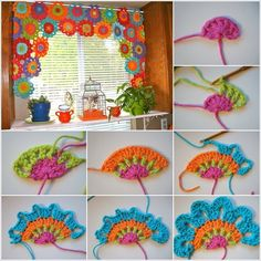 Bright and Beautiful Homemade Crochet Flower Curtain. Add a much-needed splash of color to your room wih this bright and beautiful homemade flower curtain! Beau Crochet, Crochet Diy, Crochet Motifs, Crochet Amigurumi, Crochet Home, Crochet Crafts, Crochet Stitches, Crochet Projects, Crochet Ideas