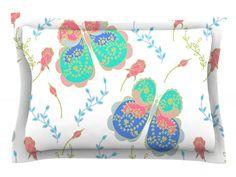 Leafy Butterflies by Anneline Sophia Teal Butterfly Cotton Pillow Sham