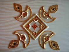 DIY - Kundan Diya Rangoli, How to make rearrangeable kundan rangoli for ...