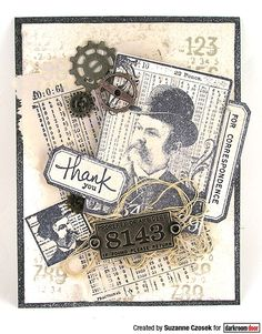 Card by Suzanne Czosek using Darkroom Door Dashing Gents, Number Medley and Lots of Labels Stamp Sets