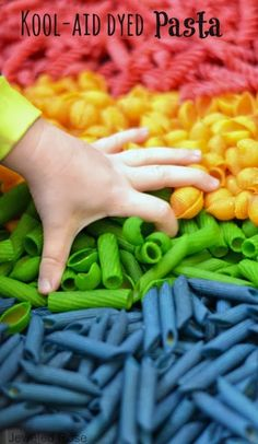 {For all the best kids activities follow Growing a Jeweled Rose onPinterestandFacebook} There are so many ways to use dyed pasta noodles in kids activities. You can use them for arts and crafts, m