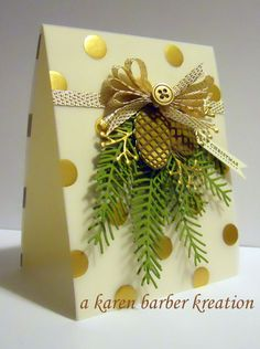 card idea christmas pine branch branches pine cone, SU pretty pines Stampin Up, gold white green, DT Sample- Karen's card Christmas Gift Box, Diy Christmas Cards, Christmas Gift Wrapping, Christmas Love, Xmas Cards, Holiday Cards, Christmas Crafts, Christmas Decorations, Homemade Greeting Cards