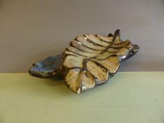 MONUMENTAL PLAT FEUILLE EN GRES EMAILLE DE BOUFFIOULX ? NON SIGNE | eBay