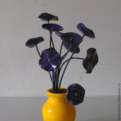"""Купить Букет """"Цветы-грибы"""" - темно-фиолетовый, интерьерная композиция, ваза, подарок, сувенир, букет"""