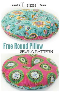 Free round pillow pattern to sew. Choose from 11 sizes