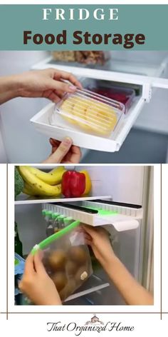 Save space in the fridge with this sliding organizer. Fill the zip-lock bags with leftovers and fresh produce. Hang them on the organizer to free up space at the bottom. You can slide the organizer out for easy browsing.#fridgestorage #kitchenstorage #thatorganizedhome #fridgeorganizer Fridge Organisers, Fridge Storage, Fridge Organization, Kitchen Storage, Food Storage, Organization Ideas, Storage Ideas, Easy Casserole Recipes For Dinner Beef, Autumn Squash Soup Recipe