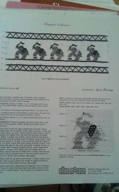 Vintage Smocking pattern Timothy ' s Elephants by Ellen McCarthy 1983 #GraceKnott