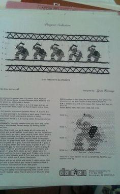 Vintage Smocking pattern Timothy ' s Elephants by Ellen McCarthy 1983 #GraceKnott